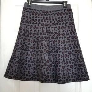 Ann Taylor grey leopard print skater skirt size S